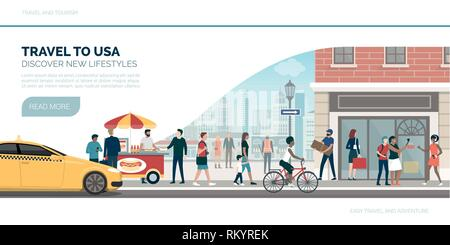 Travel to USA: vacations and tourism banner with traditional buildings, people and street food - Stock Photo