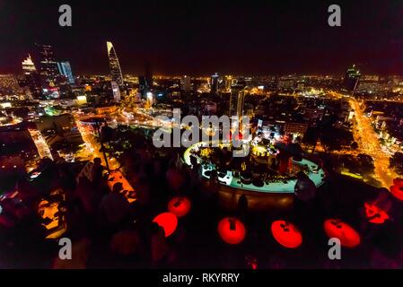 The Chill Skybar on the 25th floor of AB Tower, which has tremendous panoramic views over the city, District 1, Ho Chi Minh CIty (Saigon), Vietnam. - Stock Photo