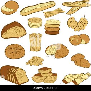 set of various colored breads, hand-drawn vector illustration - Stock Photo