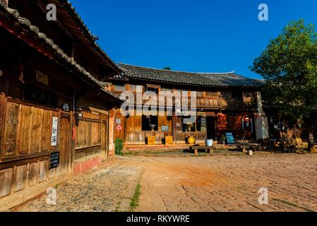 Sideng Square in the market town of Shaxi, on the Tea Horse Caravan Road, which links Southern Yunnan to Tibet and Burma and retains its position as - Stock Photo
