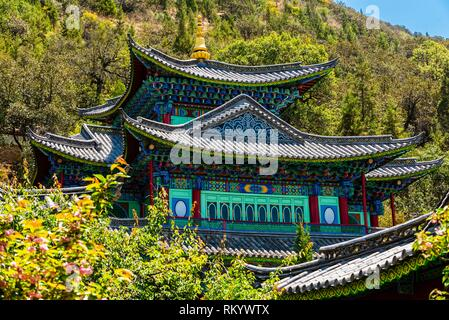 The Dragon God Temple (Longshen Temple) in Black Dragon Pool Park, Lijiang, Yunnan Province, China. - Stock Photo