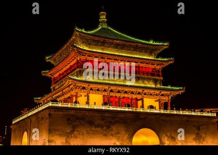 The Bell Tower, built in 1384 during the early Ming Dynasty, is a symbol of the city of Xi'an and one of the grandest of its kind in China. The Bell - Stock Photo
