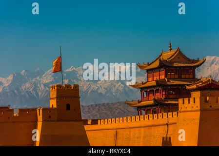 Jiayuguan Fort is the western end of the Great Wall built in the Ming Dynasty (1368 - 1644). It was an important military fortress and key waypoint - Stock Photo