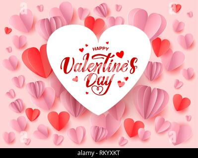 Happy valentines day greeting card with roses, hearts shape elements and ribbon. Vector illustration. - Stock Photo