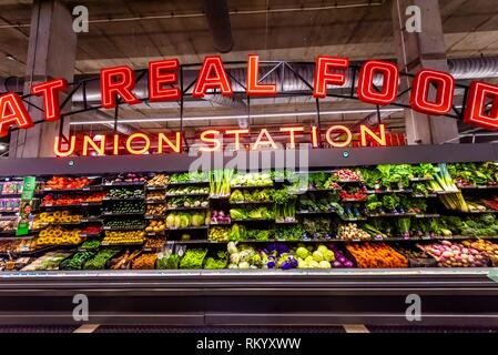 Fresh organic produce at Whole Foods Market Union Station in the LoDo section of Downtown Denver, Colorado USA. - Stock Photo