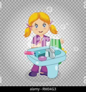 Little Blonde Girl Character with Blue Eyes Brushing Teeth at Sink in Bathroom Isolated on Transparent Background. Toothbrush and Towel in Hand. Kids  - Stock Photo