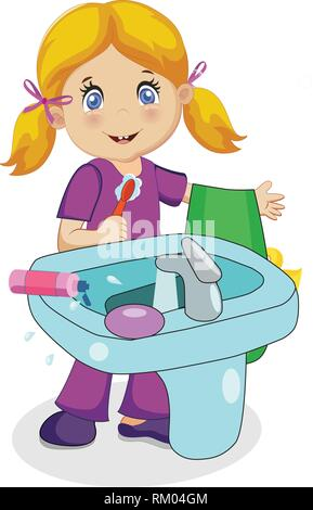 Cute Smiling Baby Girl Character with Blonde Hair Brushing Teeth at Sink in Bathroom Isolated on White Background. Toothbrush and Towel in Hand. Child - Stock Photo