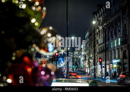 Picadilly decorated for Christmas, London, UK - Stock Photo