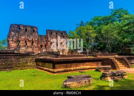 Sacred Quadrangle, Ruins of ancient city, Polonnaruwa, Sri Lanka. - Stock Photo
