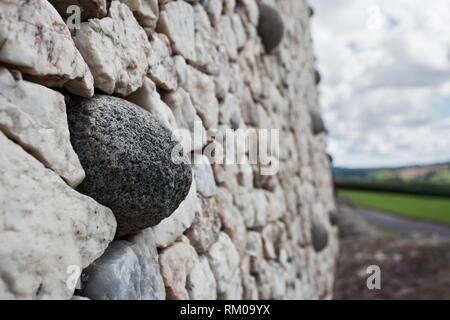Architectural facade detail of the UNESCO World Heritage Site Neolithic, Bru na Boinne complex, Newgrange Passage Tomb Monument, in the Boyne Valley, - Stock Photo