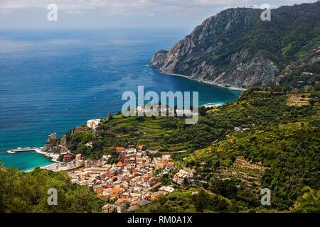 View from above of the town of Monterosso al Mare, Cinque Terre Region, Monterosso Al Mare, Liguria, Italy. - Stock Photo