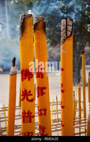 Incense offerings outside the Main Shrine Hall of Buddha, Po Lin Monastery, Lantau Island, New Territories, Hong Kong, S. A. R. , China. - Stock Photo