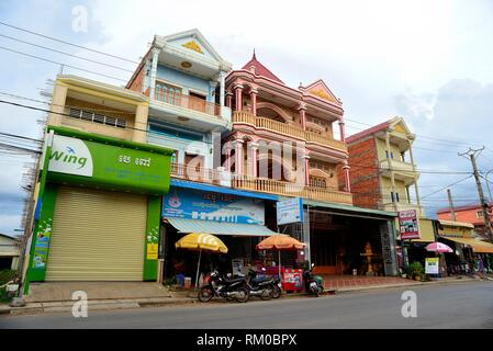 Facades in Sihanouk street, Kratie, Cambodia. - Stock Photo