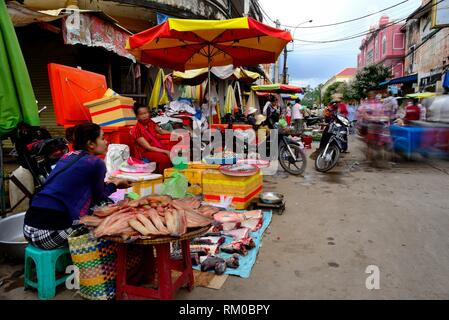Preah Sihanouk street. Street Market (Psar) of Kratie, Cambodia - Stock Photo