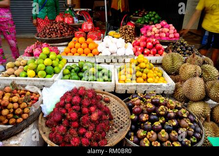 Fruit stand in Preah Sihanouk street. Street Market (Psar) of Kratie, Cambodia - Stock Photo