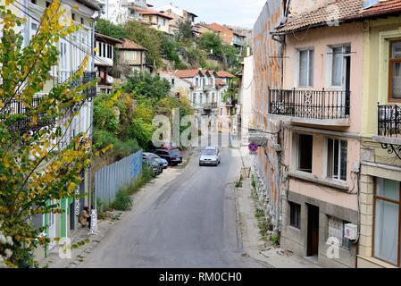 View of a street in Veliko Tarnovo, Bulgaria Stock Photo