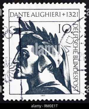 GERMANY - CIRCA 1971: a stamp printed in the Germany shows Dante Alighieri, Italian Poet, circa 1971 - Stock Photo