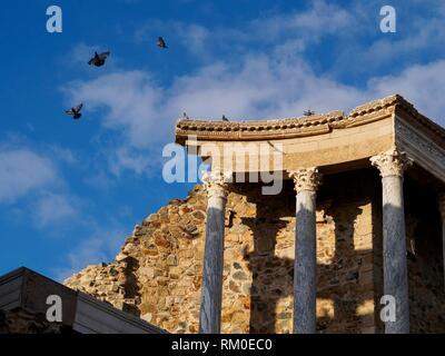 The Roman Theatre of Mérida. Emerita Augusta, capital of Lusitania, current Mérida, Badajoz, Extremadura, Spain, Europe. - Stock Photo