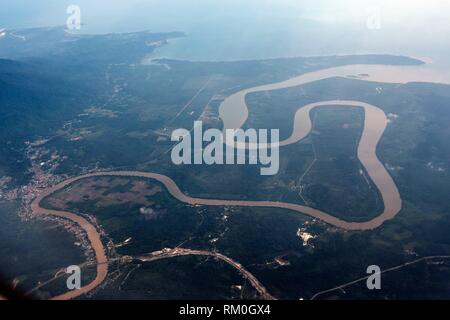 Bird´s view of Kuching city and Sarawak river, Sarawak, Malaysia - Stock Photo