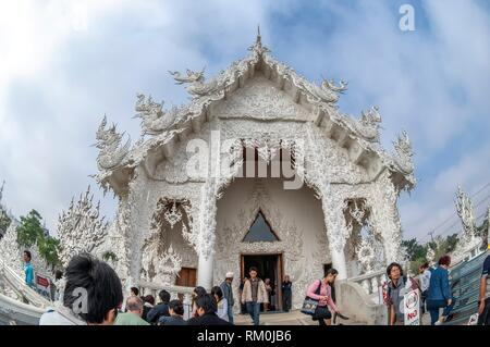Wat Rong Khun (White Temple), Chiangrai, Thailand - Stock Photo