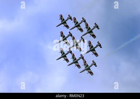 Bellaria Igea Marina Air Show, Delle Frecce Tricolori, Airshow, aerobatic demonstration team of the Italian Aeronautica Militare, based at Rivolto - Stock Photo