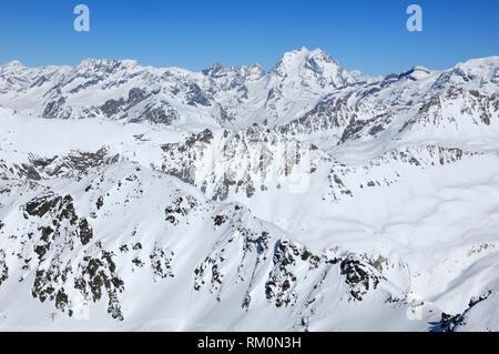 Mount Pourri 3779m, La Grande Casse 3855m, Pointe Mathews 3783m, Massif de la Vanoise,The Vanoise Mountain Range, Snow Scenery, Haute Savoie, Trois - Stock Photo