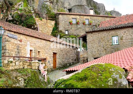 Street and rocks of Monsanto, Castelo Branco province, Portugal. - Stock Photo