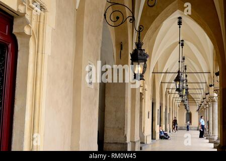Hallway in Market square or Rynek, Krakow, Poland. - Stock Photo