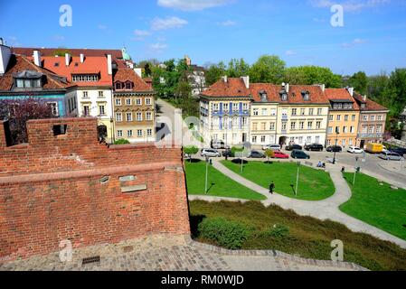 View from Barbakan gate, Warsaw, Poland. - Stock Photo
