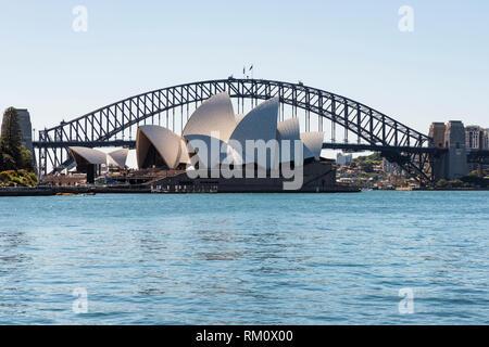 A view toward the Sydney opera house. - Stock Photo