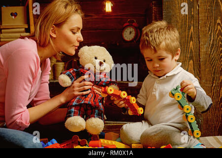 Creativity concept. Mother and baby son play with toys, creativity. Creativity and imagination for child development. Development of creativity - Stock Photo