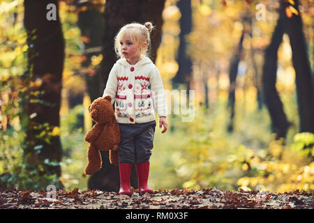 Child with teddy bear in fairy tale woods. Little girl in autumn forest. Kid with toy enjoy fresh air outdoor. Childhood, game, fun, active rest and - Stock Photo