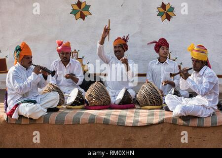 Rajasthani folk musicians, Udaipur, India. - Stock Photo