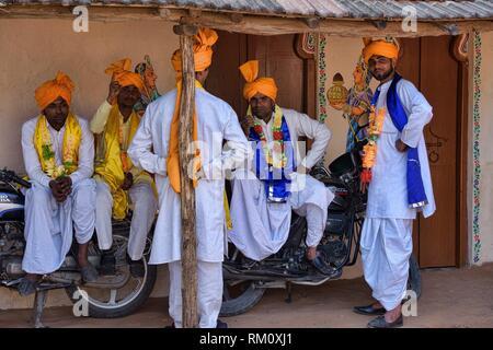 Rajasthani folk musicians relaxing, Udaipur, India. - Stock Photo