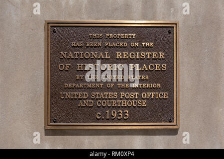 National Register of Historic Places plaque on The Mob Museum, Las Vegas (City of Las Vegas), Nevada, United States. - Stock Photo