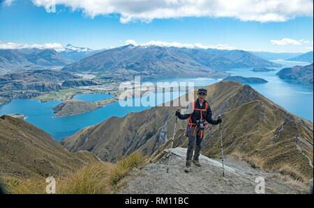 Tremendous views of Lake Wanaka from Roy's Peak, Wanaka, New Zealand. - Stock Photo