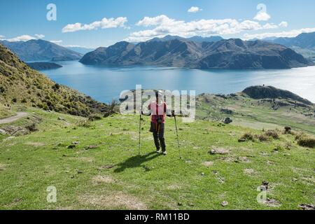 Tremendous views of Lake Wanaka and Mount Aspiring from Roy's Peak, Wanaka, New Zealand. - Stock Photo
