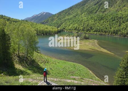 Gorgeous northern scenery at Kanas Lake National Park, Xinjiang, China. - Stock Photo