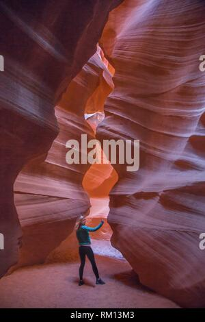 The colorful sandstone walls of Upper Antelope Canyon on the Navajo Tribal Land, Page Arizona. - Stock Photo