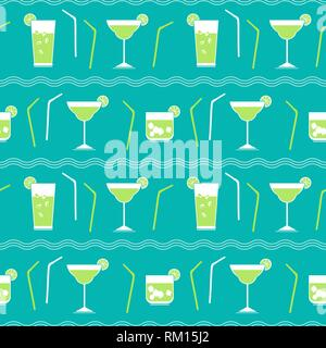 Flat cocktail party vector seamless pattern - Stock Photo