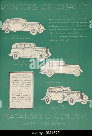 """Advertisement for Naraindas & Company, suppliers of motor cars, 1936. Naraindas, based in Lahore and Karachi (at that time part of British India), supplied cars manufactured by General Motors such as Chevrolets, Pontiacs and Buicks. From """"The Civil and Military Gazette"""" Annual, 1936. [India, 1936] - Stock Photo"""