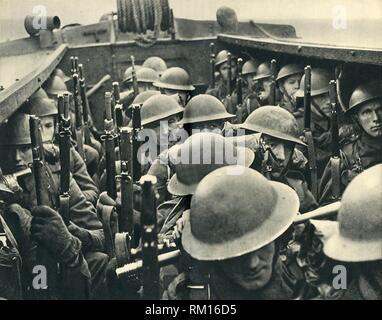 """Royal Marines on board a landing craft, World War II, c1939-c1943 (1944). 'Landing Party'. From """"The Royal Marines - The Admiralty Account of Their Achievement 1939-43"""". [His Majesty's Stationery Office, London, 1944]. - Stock Photo"""