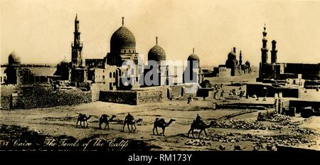 'Cairo - The Tombs of the Califs', c1918-c1939. From an album of postcards. - Stock Photo