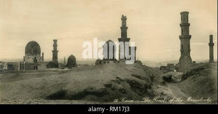 'Cairo - The Tombs of the Mamelouks', c1918-c1939. From an album of postcards. - Stock Photo