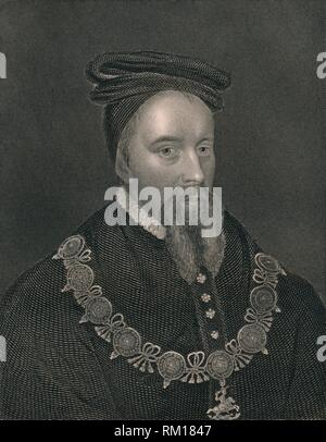 'Thomas Stanley, Earl of Derby', (early-mid 19th century). Portrait of English nobleman Thomas Stanley, 1st Earl of Derby (1435-1504). At the Battle of Bosworth Field in 1485, Stanley and his brother William betrayed King Richard III. Thomas is alleged to have retrieved Richard's lost crown from the battlefield and placed it on the head of his stepson, who became King Henry VII. 'From the original of Holbein, in the collection of The Right Honourable The Earl of Derby'. [The London Printing and Publishing Company, London] - Stock Photo