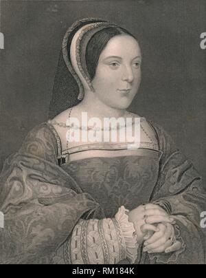 'Margaret Tudor. Queen of Scotland', c1525, (early-mid 19th century). Portrait of Marie d'Assigny, Madame de Canaples (1502-1558, wife of Jean de Créquy), dressed as Margaret Tudor (1489-1541, queen consort of King James IV of Scotland). Engraving after a painting made c1525, the year that Marie d'Assigny, a lady at the court of King François I of France, married Jean de Crequi, sire de Canaples. Painting in the collection of the National Galleries of Scotland, Edinburgh. [The London Printing and Publishing Company, London] - Stock Photo