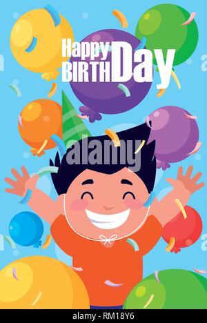 birthday card with little boy celebrating vector illustration design - Stock Photo