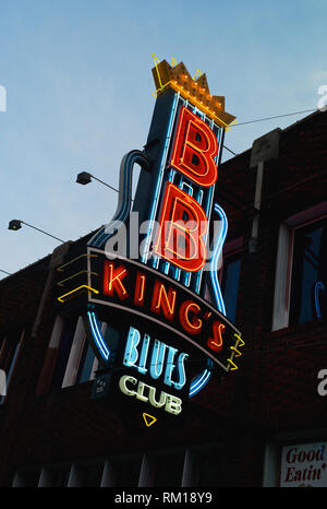 Neon Sign of BB King's Blues Club on Beale Street - Stock Photo