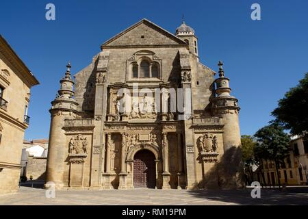 Úbeda (Jaén) Spain. Facade of the Sacred Chapel of the Savior of the World in the town of Úbeda. - Stock Photo