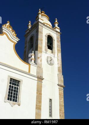 Portimao (Portugal). Bell tower of the Church of Nossa Senhora da Conceição in the city of Portimao. - Stock Photo